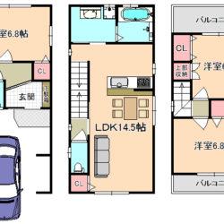 東大阪市新築一戸建て 限定一区画★快適駅前生活!!両面道路で日当たり・通風良好です♪