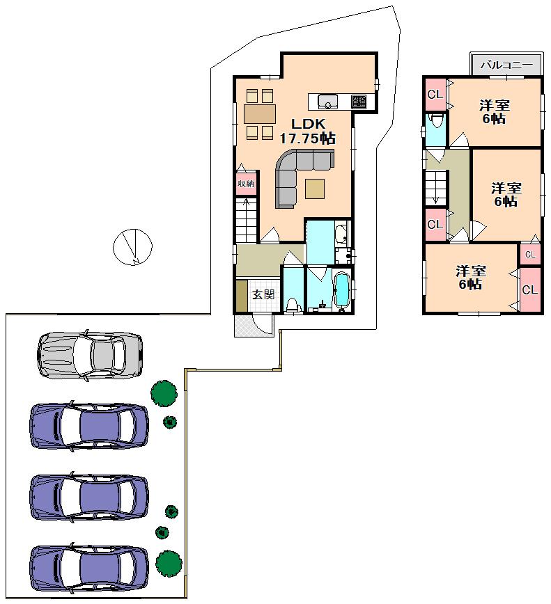 広い駐車場はドックランなど様々な使い方が可能です☺間取
