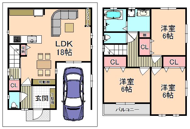 新築プラン 建物面積/86.27㎡間取