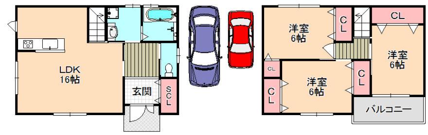 東大阪市新築一戸建て<駐車2台可能★全室6帖以上のゆとりがあります☺